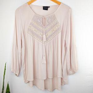 Cliche Cream Boho Embroidered Tunic